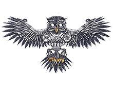 Steampunk silver flying owl by Angelaook