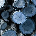 Blue Wood Circles by Karen Jayne Yousse