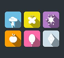 My Little Pony - Mane Six Flat Icons 2.0 by grischa808