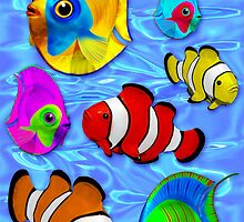 Tropical Fishes Pattern by BluedarkArt