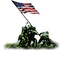 American Flag; USA; Raising the Colours on Iwo Jima WW2 by TOM HILL - Designer