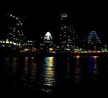 Austin Town Lake Night Time Skyline by venny