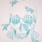 Honeycomb skull screenprint by amylouised