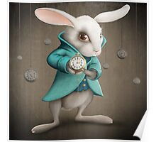 white rabbit with clock Poster