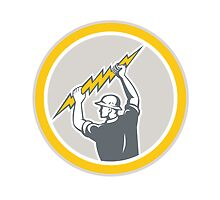 Electrician Holding Lightning Bolt Side Retro by patrimonio