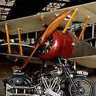 Brough Superior SS 100 and Biplane by Frank Kletschkus