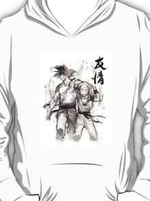Dragon Ball Z Goku and Krillin with Calligraphy Friendship T-Shirt