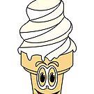 Vanilla Ice Cream Cone Cartoon by Graphxpro