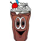 Chocolate Ice Cream Sundae Cartoon by Graphxpro