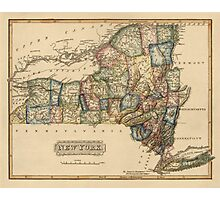 Antique Map of New York State from c1817 Photographic Print