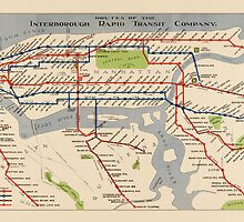 Vintage Subway Map of New York City from 1924 by bluemonocle