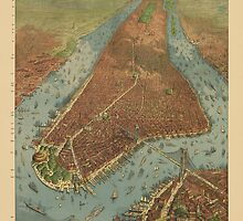 Antique Map of New York City from 1879 by bluemonocle