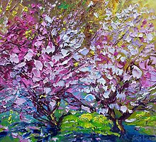 Spring Painting of Pink Flowers on Magnolia Tree Fine Art by Ekaterina Chernova by Ekaterina Chernova