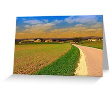 A road, a village and summer season II   landscape photography Greeting Card