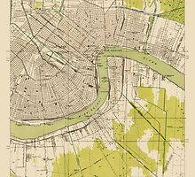 Vintage USGS Topographic Map of New Orleans, Louisiana from 1932 by bluemonocle