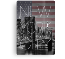 Black and white New York with Usa flag Canvas Print