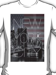 Black and white New York with Usa flag T-Shirt