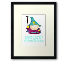 Don't ever fart on a man's balls Framed Print