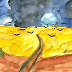Wheat Field With Crows Watercolour by withoutwax94