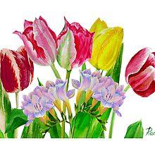 Bouquet with tulips and fressia  by Natalia Piacheva