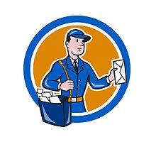 Mailman Postman Delivery Worker Circle Cartoon by patrimonio