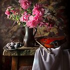 Still Life with Camellias, Figs & Violin by Jon Wild