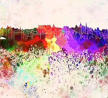 Edinburgh skyline in watercolor background by paulrommer
