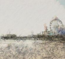 Scribbled Santa Monica Pier by stine1