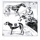 Greyhound Drypoint Etching by BonniePortraits