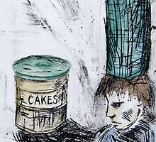 Boy and Cake – Drypoint Etching by BonniePortraits