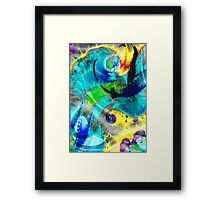 abstract blue and yellow Framed Print