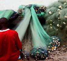 Repairing the Nets in Cape Coast by Wayne King