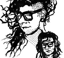 skrillex double portrait doodle by Ashley Peppenger