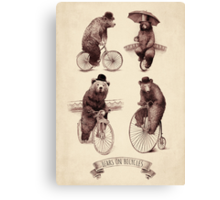 Bears on Bicycles Canvas Print