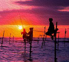 Traditional Fisherman in Sri Lanka by surangaw