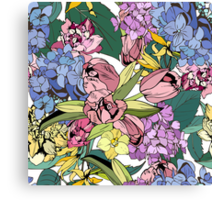 Bright spring pattern with tulips and hydrangea Canvas Print