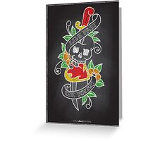 Chalk Board Tattoos - Skull Greeting Card