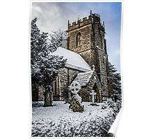Snow covered rural church in Dorset Poster