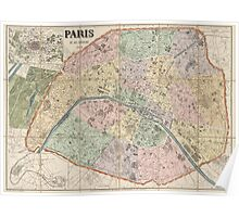 Antique Map of Paris, France from 1878 Poster