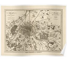 Antique Map of Paris, France from 1805 Poster