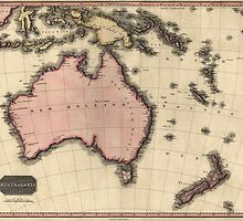 Antique Map of Australia and the Pacific Islands from 1818 by bluemonocle