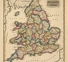 Antique Map of England and Wales from c1817 by bluemonocle