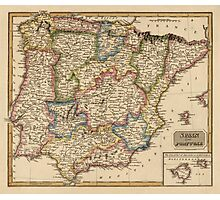 Antique Map of Spain and Portugal from c1817 Photographic Print