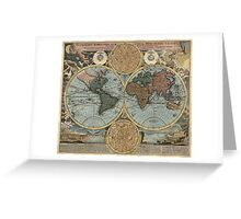 Antique Map of the World from c1716 Greeting Card