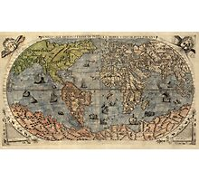 Antique Map of the World from 1565 Photographic Print