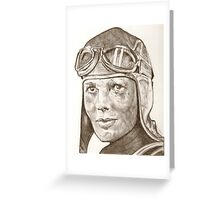 Amelia Earhart drawing Greeting Card