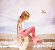 Child Mermaid on Seashell at Beach by fairytaleart