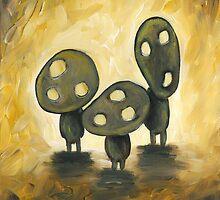 Gold Kodama Trio by Katie Clark