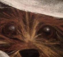 Cute Funny Yorkie Between Pillow Original Art Sticker