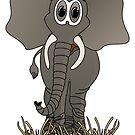 Grey Elephant Cartoon by Graphxpro